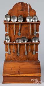 Fruitwood hanging spoon rack, early 19th c., etc.