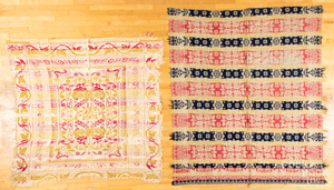 Four Jacquard and overshot coverlets, ca. 1840.