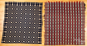 Three overshot coverlets, ca. 1840.