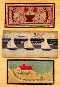Three American hooked rugs, early 20th c.