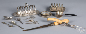 Silver plate, antler handle carving set, etc.