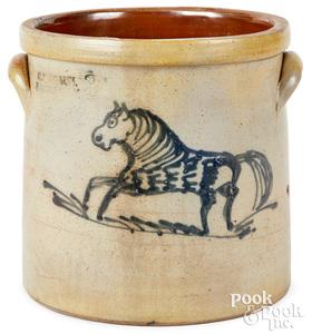 NY stoneware crock, C.W. Braun Buffalo horse