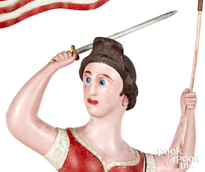 Important NH carved and painted Miss Liberty