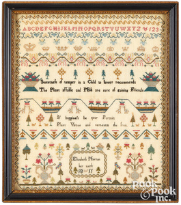 Fine English silk on linen sampler, dated 1811