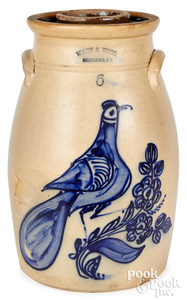 NY stoneware churn, White & Wood Binghamton bird