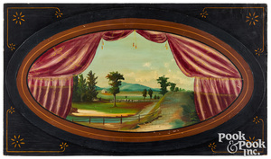 Pair of painted landscape panels, late 19th c.