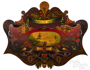 Elaborate painted wall pocket, ca. 1870