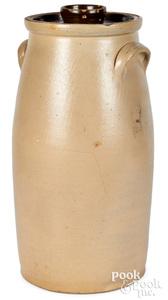 NY stoneware churn, Burger cornucopia flowers