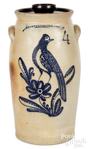 NY stoneware churn, Stetzenmeyer bird & flower