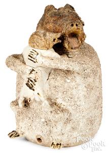 Large Staffordshire salt glaze stoneware bear jug
