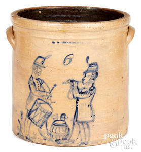 W.A. Macquoid stoneware crock, fife and drum