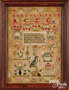 Silk on linen sampler, dated 1796, Scottish