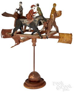Carved and painted wood horse race weathervane
