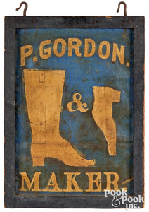 Painted tin double sided trade sign, boot maker