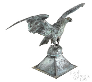 Copper spread winged eagle architectural element