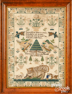 English silk on linen sampler, dated 1835 with cat