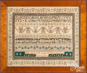 Brooklyn, New York silk on linen sampler, 1819