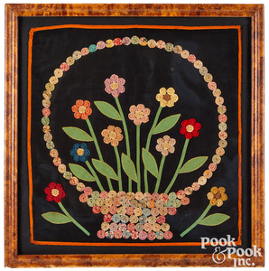 Pieced and embroidered flower basket, late 19th c.