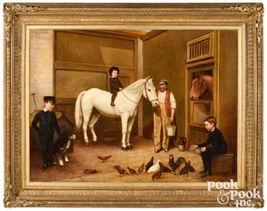 D. Winder, oil on canvas stable scene