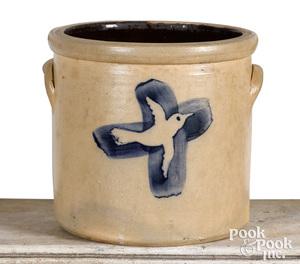 One-gallon stoneware crock, cobalt dove