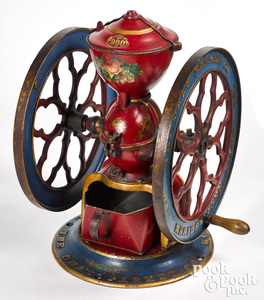 Charles Parker, painted cast iron coffee mill
