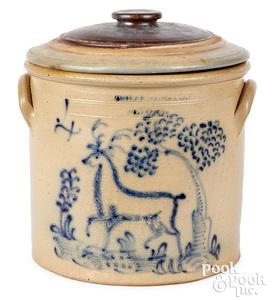NY stoneware crock, Harrington Lyons stag