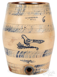 NY stoneware water cooler, Fisher & Co. Lyons bird