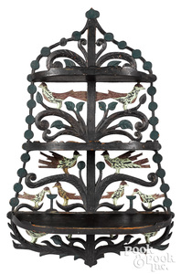Small carved and painted hanging shelf, birds