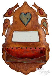 Tooled leather wall box, late 19th c., with bird