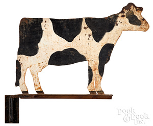 Painted sheet iron cow weathervane, early 20th c.