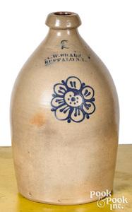 NY stoneware jug, C.W. Braun Buffalo flower