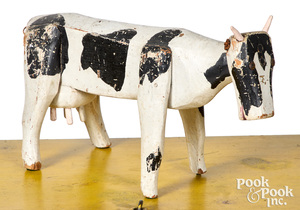 Folk art carved and painted cow, early 20th c.