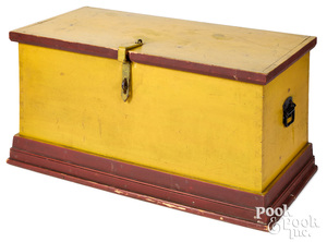 Painted pine blanket chest, late 19th c., yellow