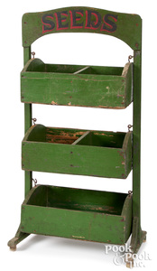 Painted country store SEEDS display rack