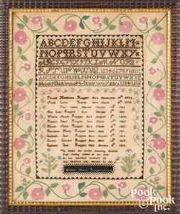 Mass. silk on linen Ruggles family register