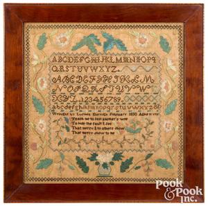Stark County, Ohio silk on linen sampler, 1830