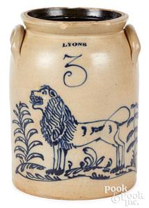 NY stoneware crock, Lyons cobalt lion