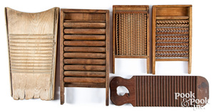 Five assorted wood washboards, 19th c.