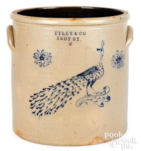 NY stoneware crock, Tyler & Co. Troy peacock
