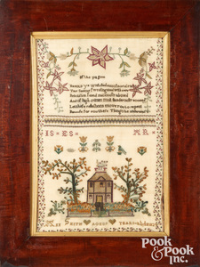 English silk on linen sampler, dated 1824