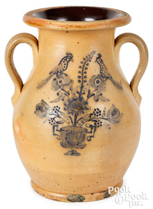 Stoneware two-handled urn, birds & flower urn