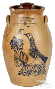 NY stoneware churn, W.H. Farrar bird & flower