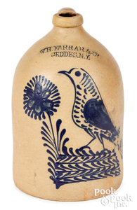 New York stoneware jug Farrar & Co. Geddes bird