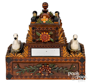 Outstanding PA carved and painted folk dresser box