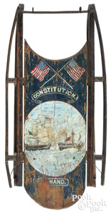Painted sled, decorated with the naval engagement