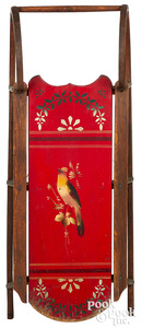 Paris Mfg. Co. painted sled, decorated with a bird