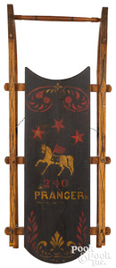 Painted sled, with stars and horse, prancer horse