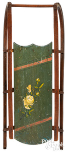Painted sled, with floral decoration green