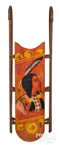 Painted sled, bust of a Native American Indian