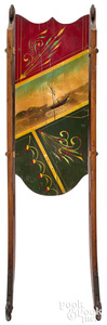 Painted sled, with sailing ship and red and green